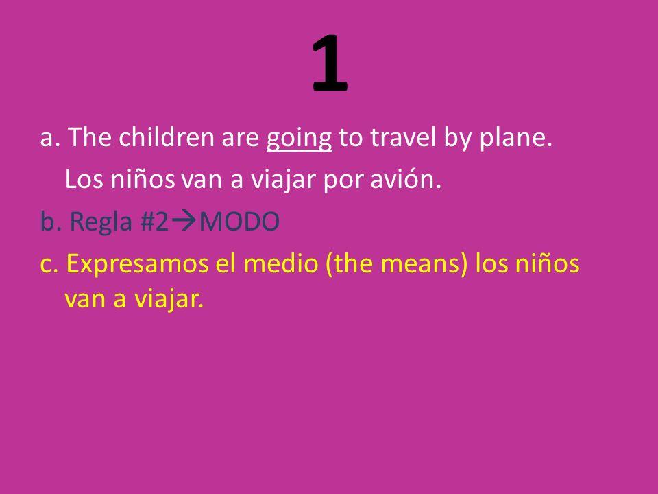 1 a. The children are going to travel by plane. Los niños van a viajar por avión.