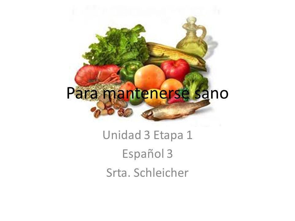 Para mantenerse sano Unidad 3 Etapa 1 Español 3 Srta. Schleicher