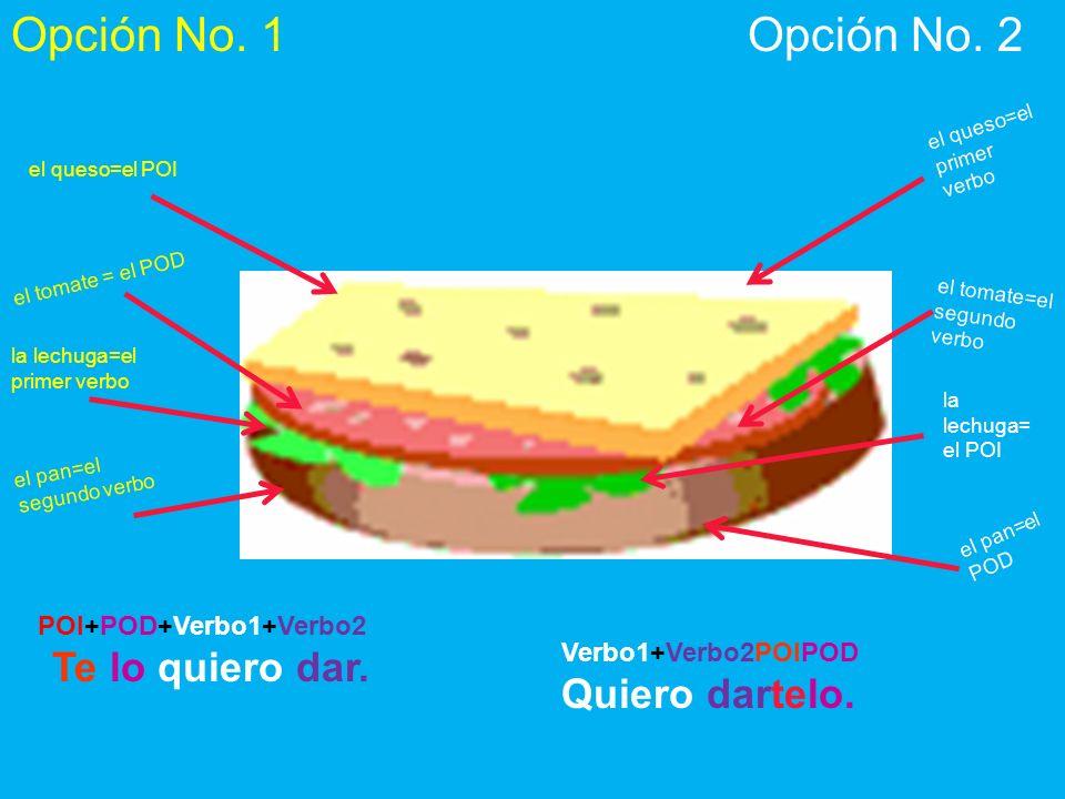 el queso=el primer verbo la lechuga= el POI el tomate=el segundo verbo el pan=el POD el queso=el POI el tomate = el POD la lechuga=el primer verbo el