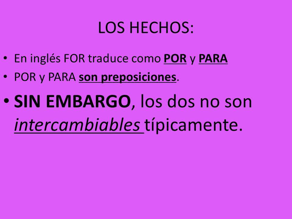 LOS HECHOS: En inglés FOR traduce como POR y PARA POR y PARA son preposiciones. SIN EMBARGO, los dos no son intercambiables típicamente.