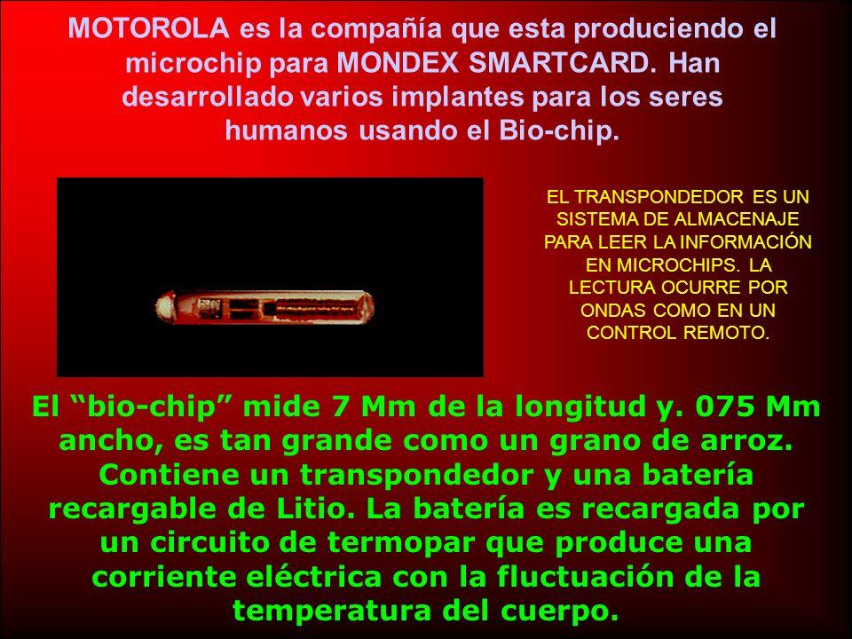 MOTOROLA es la compañía que esta produciendo el microchip para MONDEX SMARTCARD.