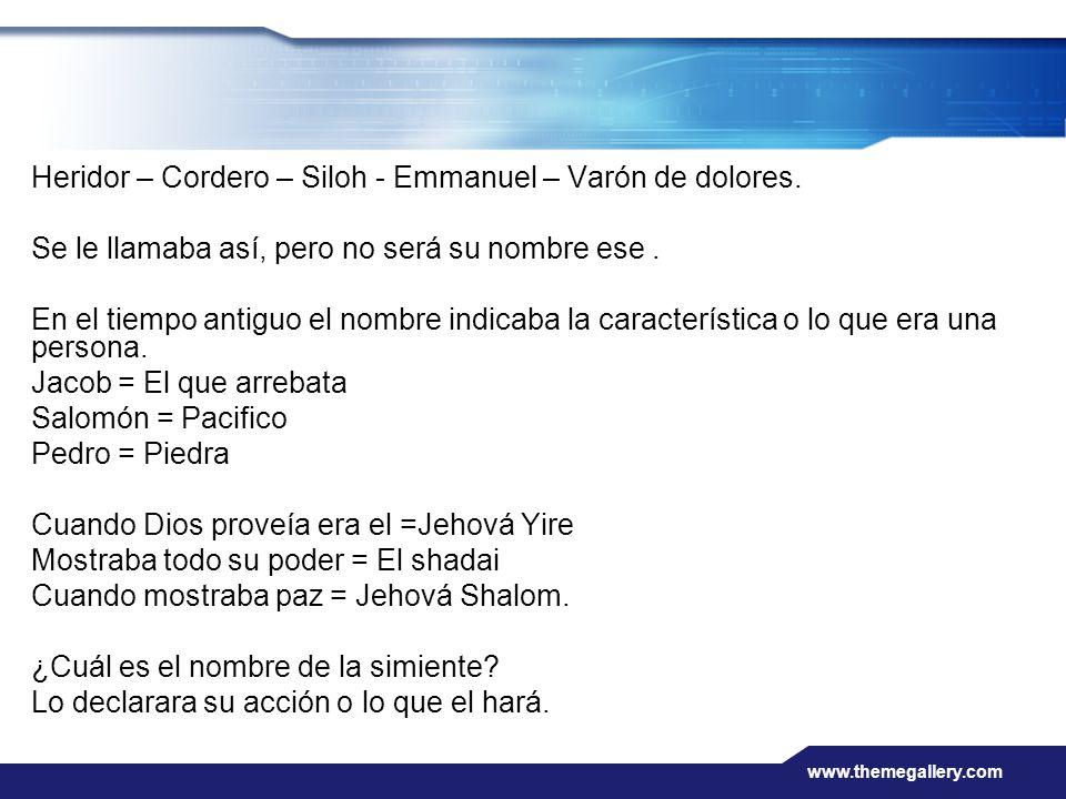www.themegallery.com Heridor – Cordero – Siloh - Emmanuel – Varón de dolores. Se le llamaba así, pero no será su nombre ese. En el tiempo antiguo el n