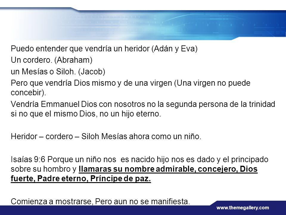 www.themegallery.com Puedo entender que vendría un heridor (Adán y Eva) Un cordero. (Abraham) un Mesías o Siloh. (Jacob) Pero que vendría Dios mismo y