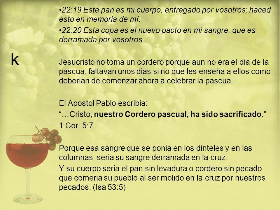 k 22:19 Este pan es mi cuerpo, entregado por vosotros; haced esto en memoria de mí. 22:20 Esta copa es el nuevo pacto en mi sangre, que es derramada p