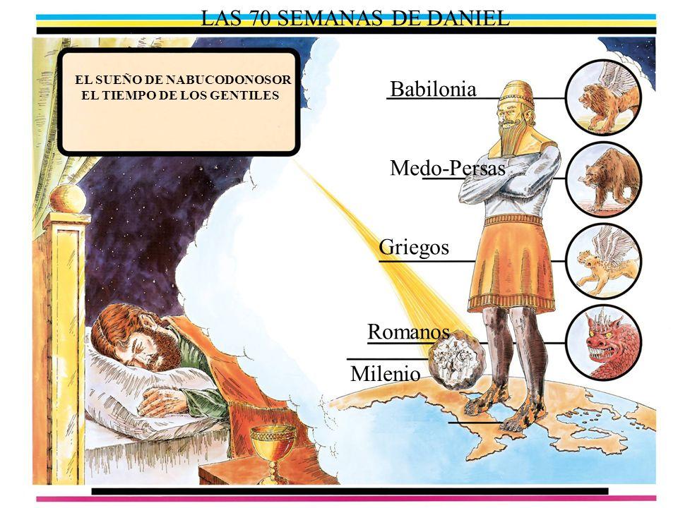 LAS 70 SEMANAS DE DANIEL EL SUEÑO DE NABUCODONOSOR EL TIEMPO DE LOS GENTILES Babilonia Medo-Persas Griegos Romanos Milenio