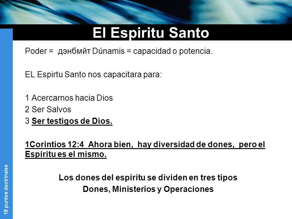 18 puntos doctrinales El Espiritu Santo Poder = дэнбмйт Dúnamis = capacidad o potencia. EL Espirtu Santo nos capacitara para: 1 Acercarnos hacia Dios