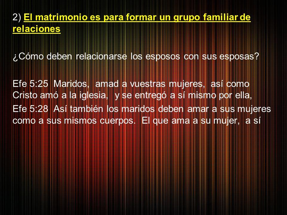 2) El matrimonio es para formar un grupo familiar de relaciones ¿Cómo deben relacionarse los esposos con sus esposas.