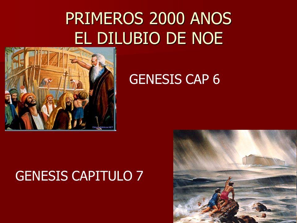 PRIMEROS 2000 ANOS EL DILUBIO DE NOE GENESIS CAP 6 GENESIS CAPITULO 7