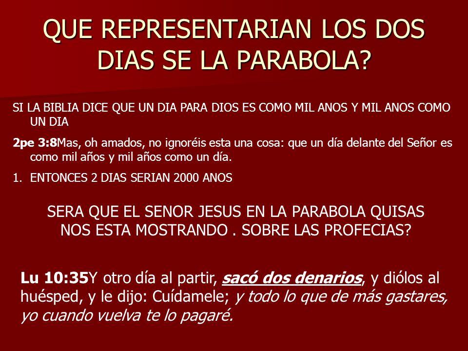 QUE REPRESENTARIAN LOS DOS DIAS SE LA PARABOLA? SI LA BIBLIA DICE QUE UN DIA PARA DIOS ES COMO MIL ANOS Y MIL ANOS COMO UN DIA 2pe 3:8Mas, oh amados,