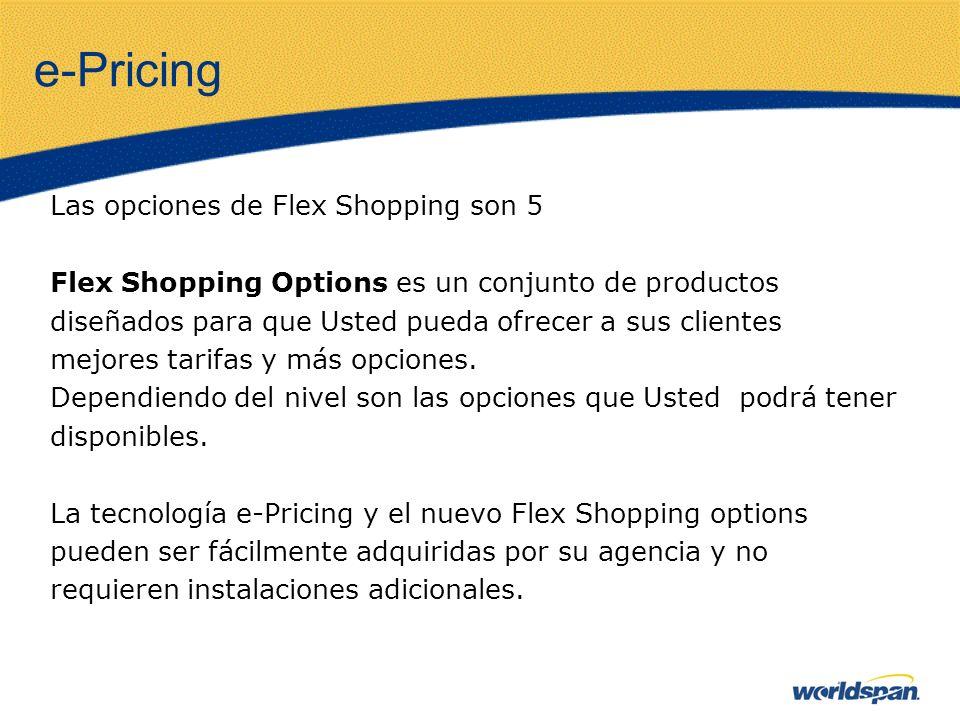e-Pricing Las opciones de Flex Shopping son 5 Flex Shopping Options es un conjunto de productos diseñados para que Usted pueda ofrecer a sus clientes mejores tarifas y más opciones.
