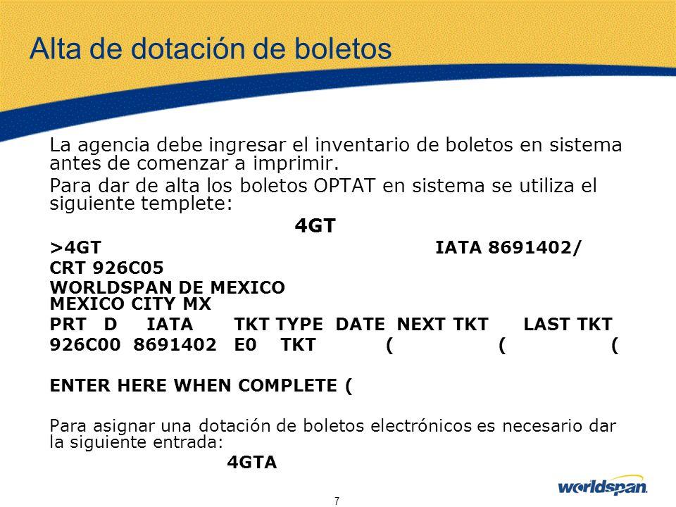 8 Preparación del PNR Campo de Boletaje Antes de imprimir un boleto es necesario agregar a la reservación todos los datos obligatorios para su expedición.