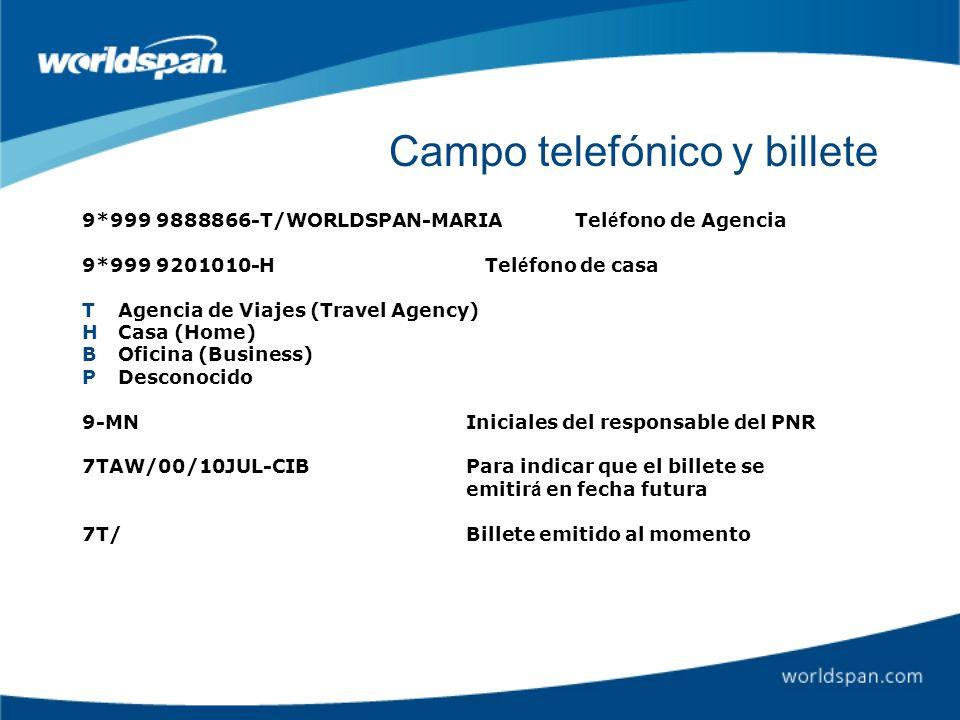 Campo telefónico y billete 9*999 9888866-T/WORLDSPAN-MARIA Tel é fono de Agencia 9*999 9201010-H Tel é fono de casa TAgencia de Viajes (Travel Agency)