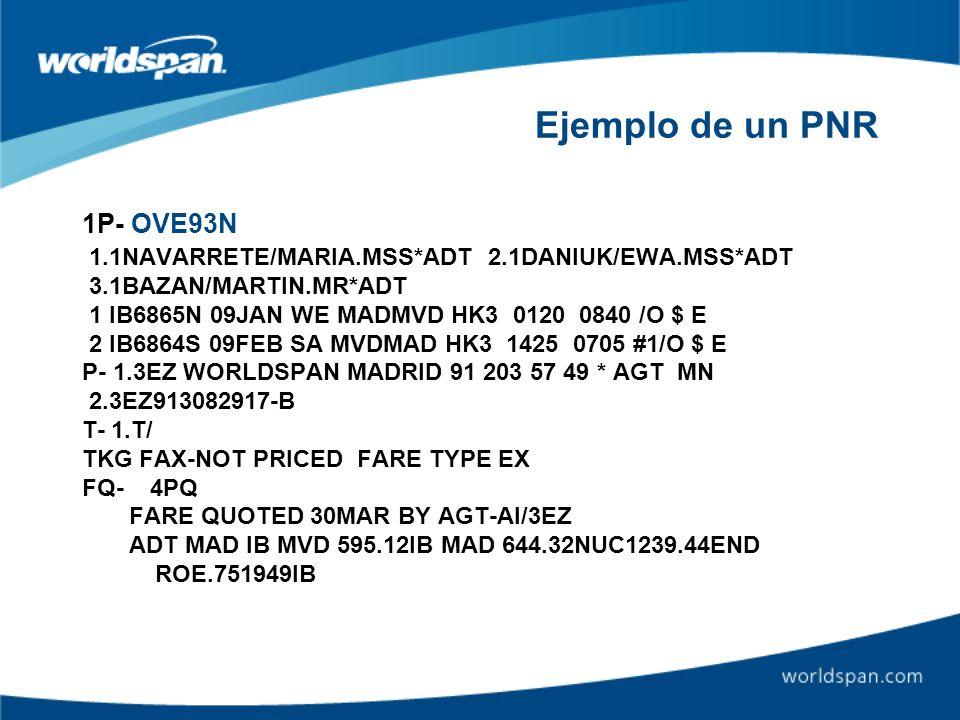 Ejemplo de un PNR 1P- OVE93N 1.1NAVARRETE/MARIA.MSS*ADT 2.1DANIUK/EWA.MSS*ADT 3.1BAZAN/MARTIN.MR*ADT 1 IB6865N 09JAN WE MADMVD HK3 0120 0840 /O $ E 2