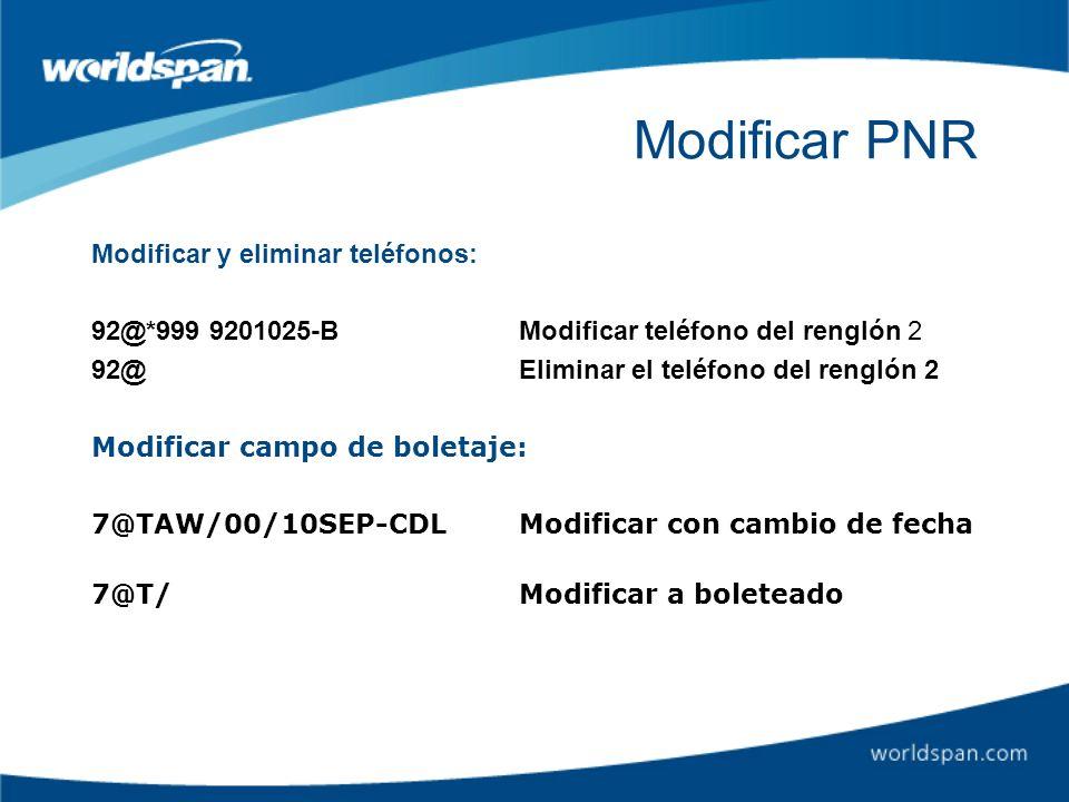 Modificar PNR Modificar y eliminar teléfonos: 92@*999 9201025-BModificar teléfono del renglón 2 92@Eliminar el teléfono del renglón 2 Modificar campo