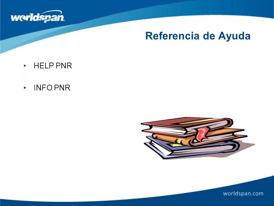 Referencia de Ayuda HELP PNR INFO PNR
