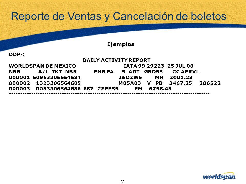 23 Ejemplos DDP< DAILY ACTIVITY REPORT WORLDSPAN DE MEXICO IATA 99 29223 25 JUL 06 NBR A/L TKT NBR PNR FA S AGT GROSS CC APRVL 000001 E0953306564684 2
