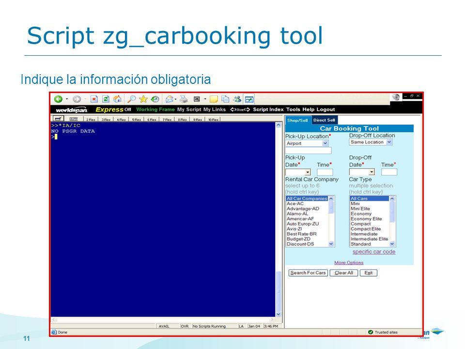 11 Indique la información obligatoria Script zg_carbooking tool