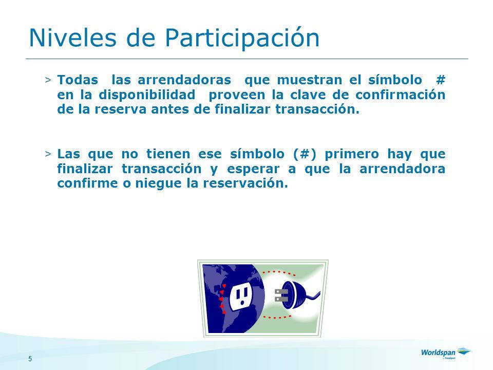 5 Niveles de Participación > Todas las arrendadoras que muestran el símbolo # en la disponibilidad proveen la clave de confirmación de la reserva antes de finalizar transacción.