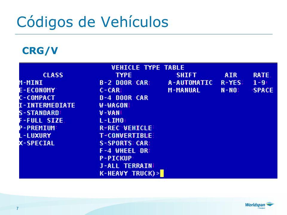 7 Códigos de Vehículos CRG/V