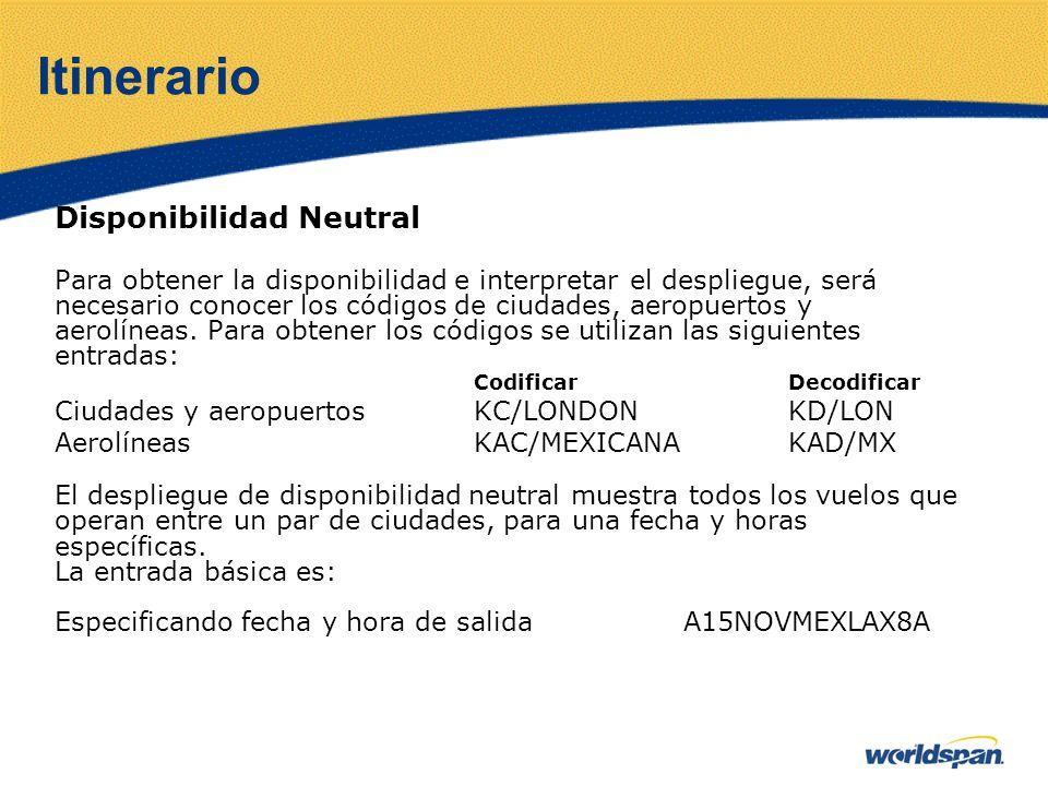 Itinerario Disponibilidad Neutral Para obtener la disponibilidad e interpretar el despliegue, será necesario conocer los códigos de ciudades, aeropuer