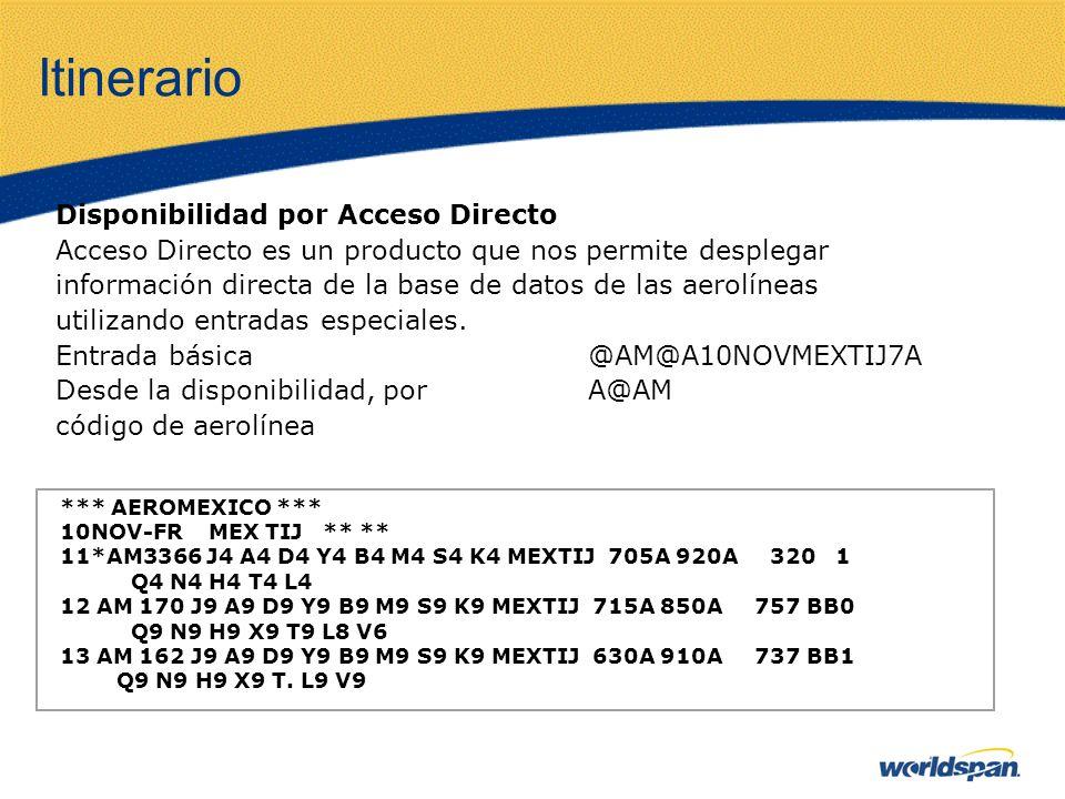 Itinerario Disponibilidad por Acceso Directo Acceso Directo es un producto que nos permite desplegar información directa de la base de datos de las ae