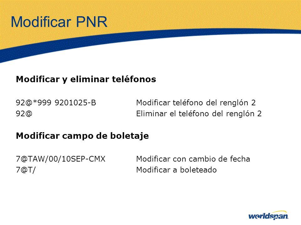 Modificar PNR Modificar y eliminar teléfonos 92@*999 9201025-BModificar teléfono del renglón 2 92@Eliminar el teléfono del renglón 2 Modificar campo d