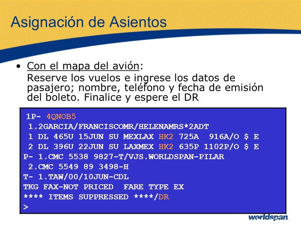 Asignación de Asientos Con el mapa del avión: Reserve los vuelos e ingrese los datos de pasajero; nombre, teléfono y fecha de emisión del boleto. Fina