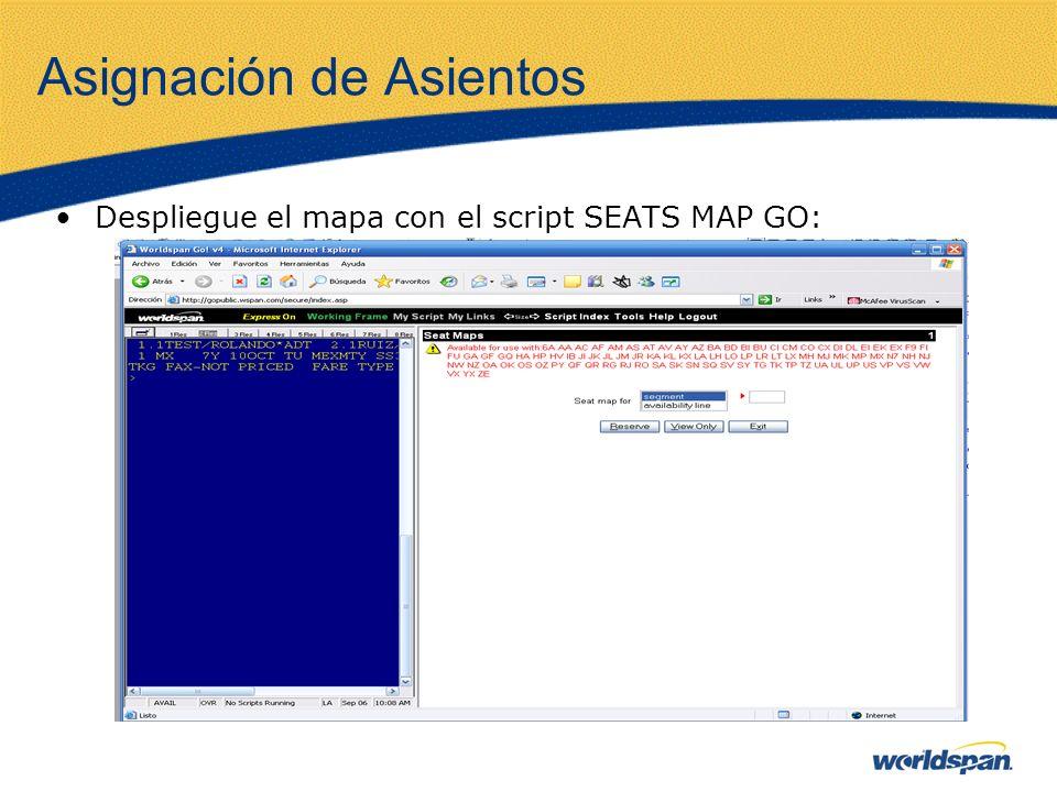 Asignación de Asientos Despliegue el mapa con el script SEATS MAP GO: