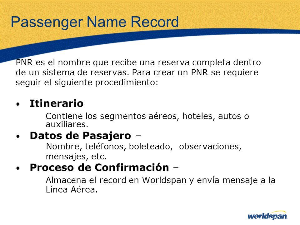 Passenger Name Record PNR es el nombre que recibe una reserva completa dentro de un sistema de reservas. Para crear un PNR se requiere seguir el sigui