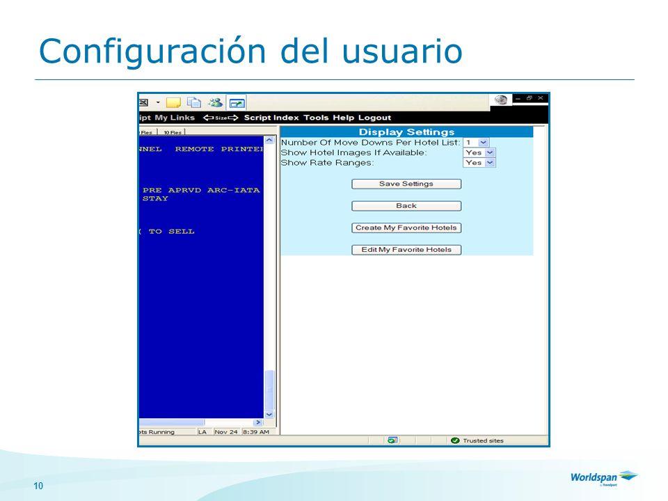 10 Configuración del usuario