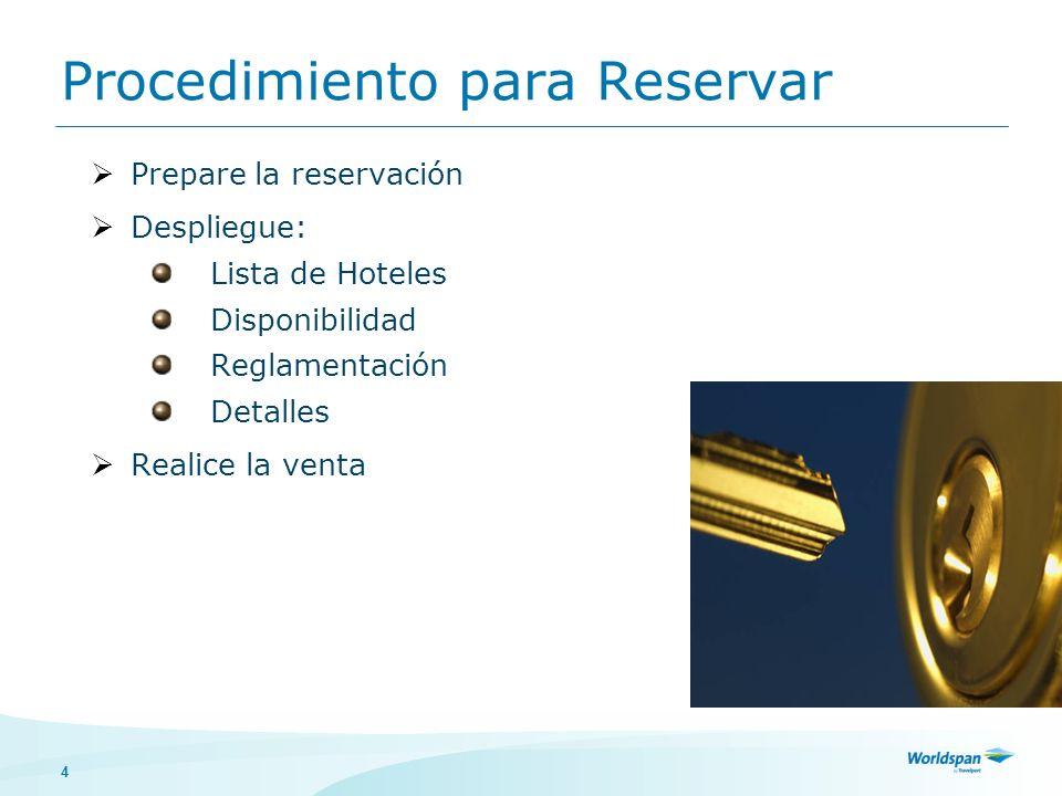 4 Procedimiento para Reservar Prepare la reservación Despliegue: Lista de Hoteles Disponibilidad Reglamentación Detalles Realice la venta