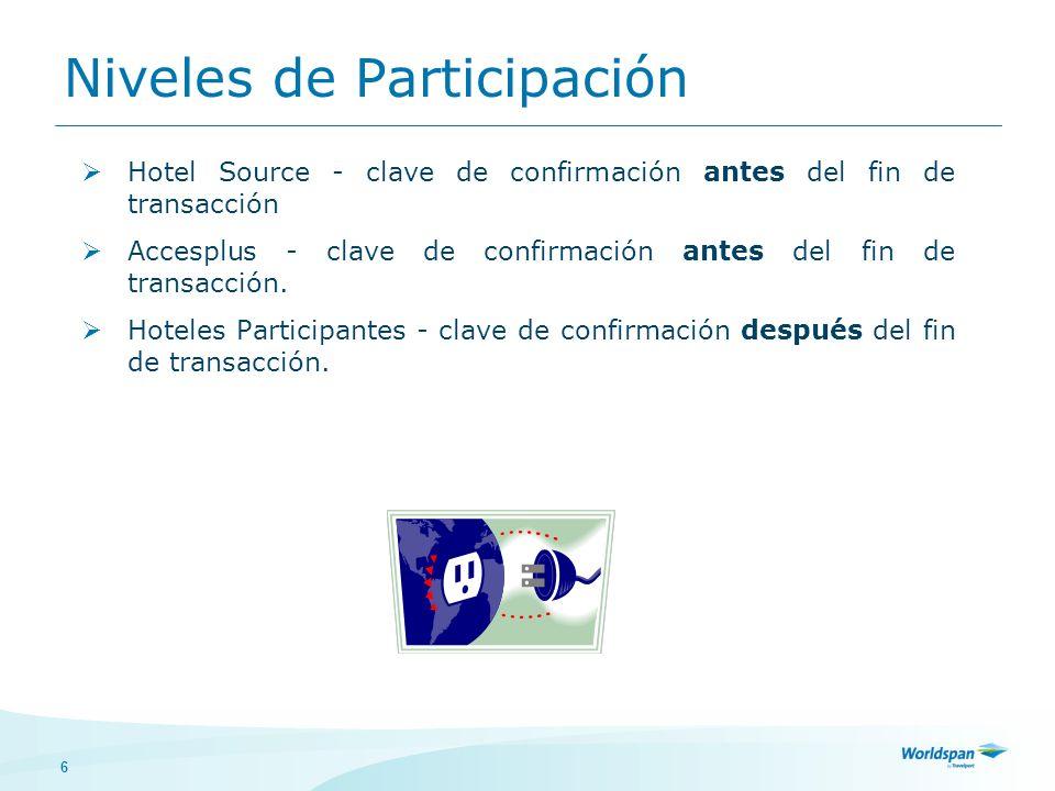 6 Niveles de Participación Hotel Source - clave de confirmación antes del fin de transacción Accesplus - clave de confirmación antes del fin de transa