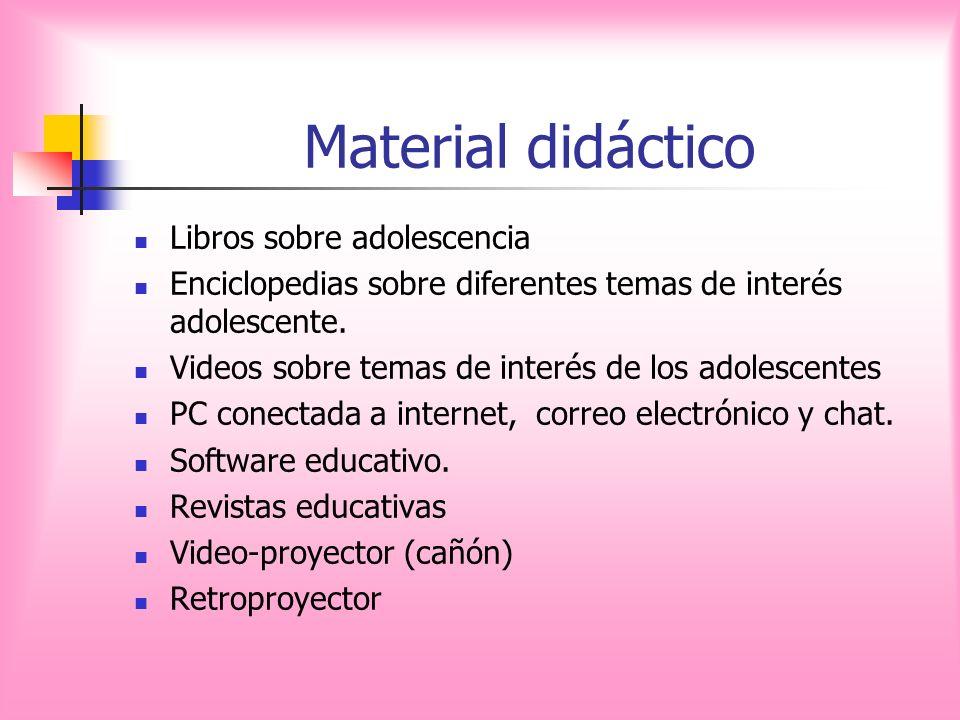 Material didáctico Libros sobre adolescencia Enciclopedias sobre diferentes temas de interés adolescente. Videos sobre temas de interés de los adolesc