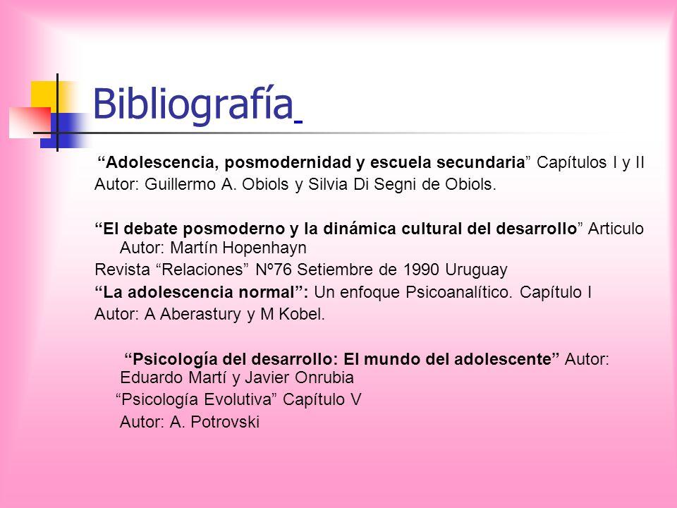 Bibliografía Adolescencia, posmodernidad y escuela secundaria Capítulos I y II Autor: Guillermo A. Obiols y Silvia Di Segni de Obiols. El debate posmo