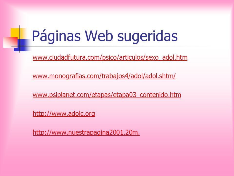 Páginas Web sugeridas www.ciudadfutura.com/psico/articulos/sexo_adol.htm www.monografias.com/trabajos4/adol/adol.shtm/ www.psiplanet.com/etapas/etapa0
