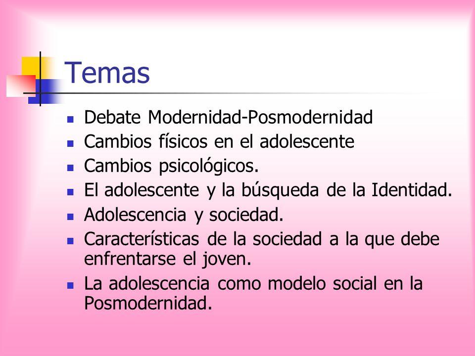 Temas Debate Modernidad-Posmodernidad Cambios físicos en el adolescente Cambios psicológicos. El adolescente y la búsqueda de la Identidad. Adolescenc
