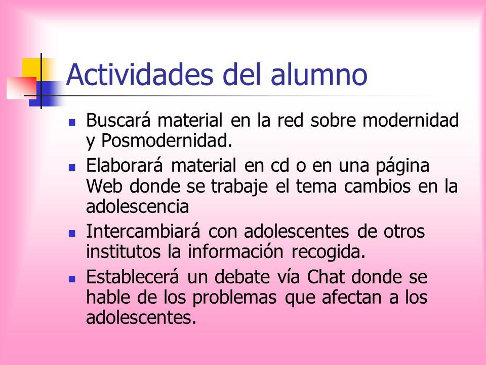 Actividades del alumno Buscará material en la red sobre modernidad y Posmodernidad. Elaborará material en cd o en una página Web donde se trabaje el t