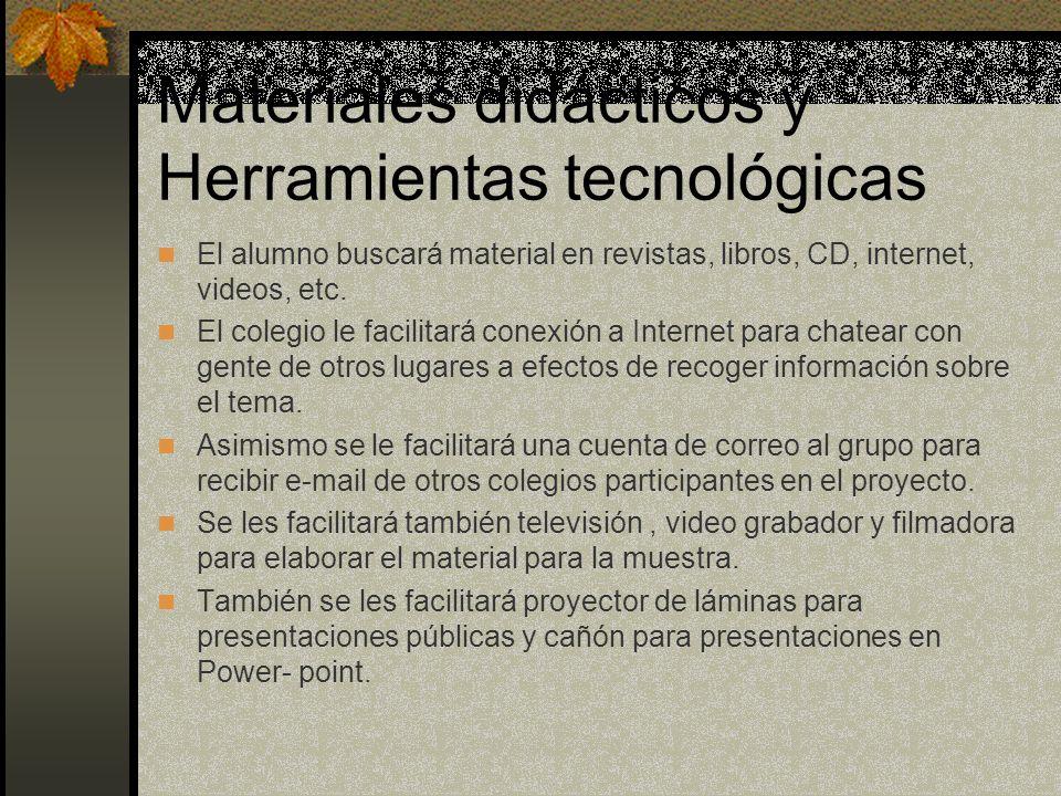 Materiales didácticos y Herramientas tecnológicas El alumno buscará material en revistas, libros, CD, internet, videos, etc. El colegio le facilitará