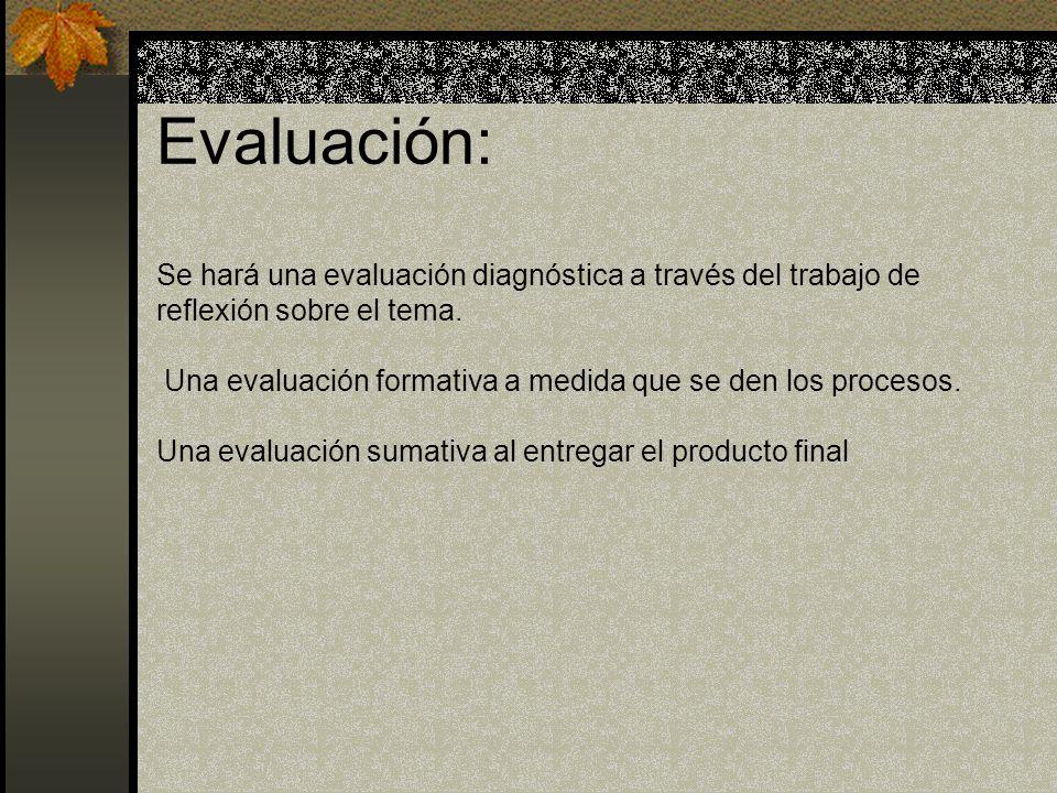 Evaluación: Se hará una evaluación diagnóstica a través del trabajo de reflexión sobre el tema. Una evaluación formativa a medida que se den los proce