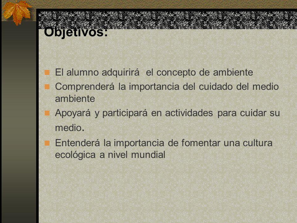 Objetivos: El alumno adquirirá el concepto de ambiente Comprenderá la importancia del cuidado del medio ambiente Apoyará y participará en actividades