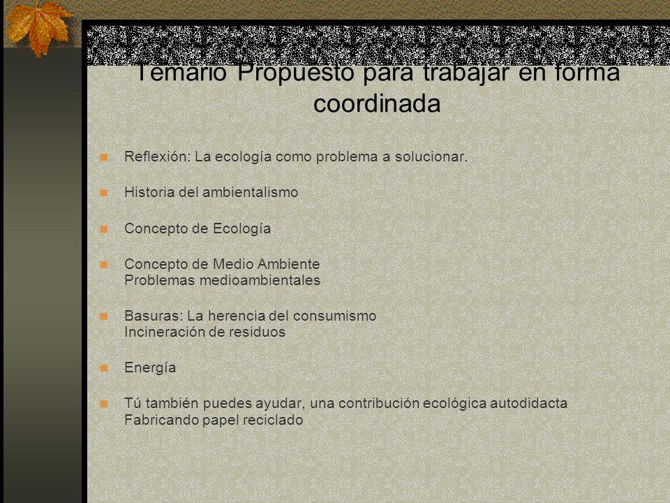 Temario Propuesto para trabajar en forma coordinada Reflexión: La ecología como problema a solucionar. Historia del ambientalismo Concepto de Ecología