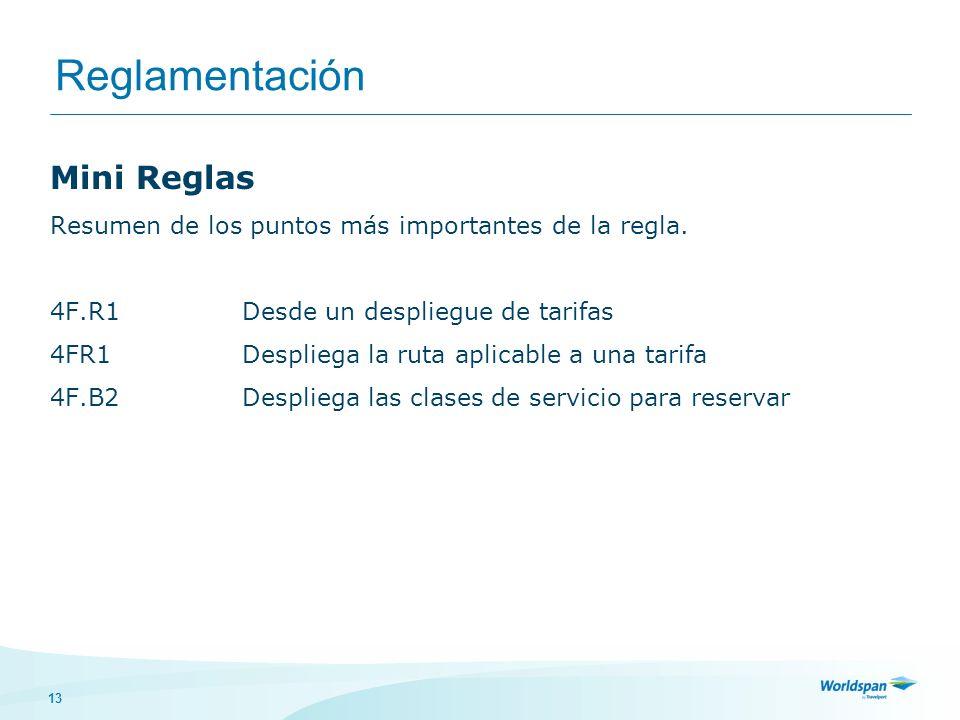 13 Reglamentación Mini Reglas Resumen de los puntos más importantes de la regla.