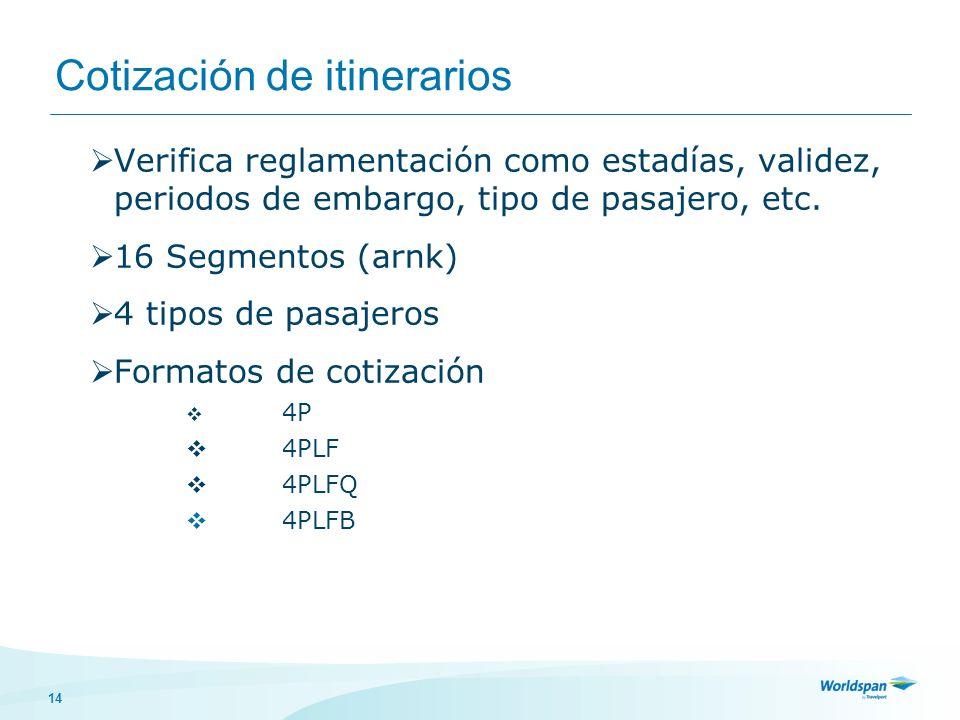 14 Cotización de itinerarios Verifica reglamentación como estadías, validez, periodos de embargo, tipo de pasajero, etc.
