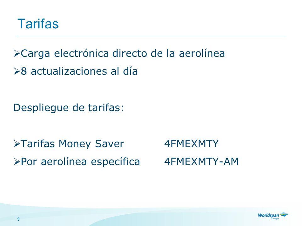 9 Tarifas Carga electrónica directo de la aerolínea 8 actualizaciones al día Despliegue de tarifas: Tarifas Money Saver4FMEXMTY Por aerolínea específica4FMEXMTY-AM