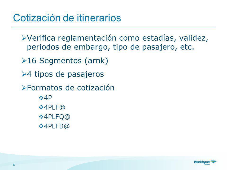 4 Cotización de itinerarios Verifica reglamentación como estadías, validez, periodos de embargo, tipo de pasajero, etc.