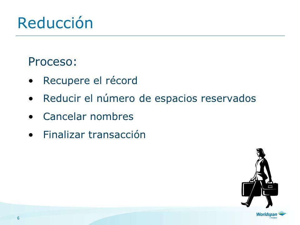 6 Proceso: Recupere el récord Reducir el número de espacios reservados Cancelar nombres Finalizar transacción Reducción
