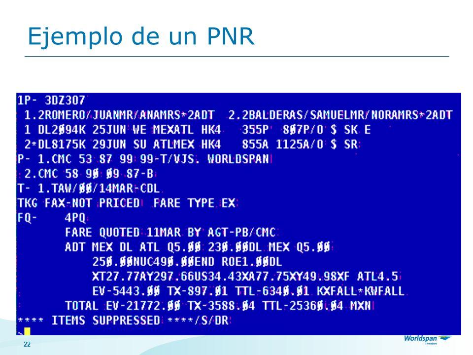 22 Ejemplo de un PNR