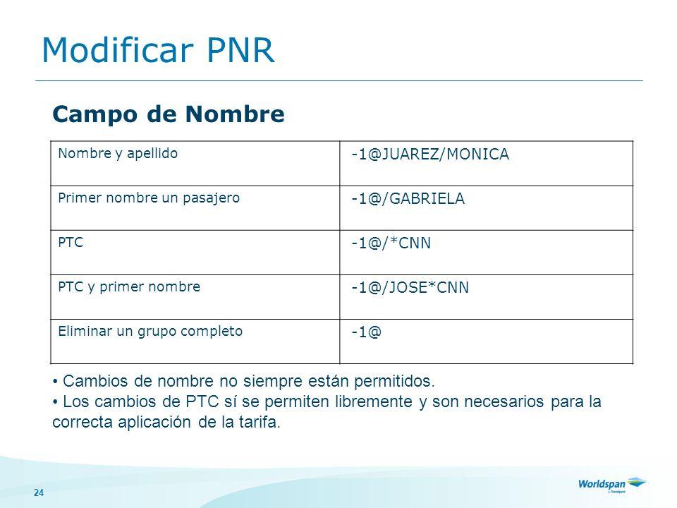 24 Modificar PNR Nombre y apellido -1@JUAREZ/MONICA Primer nombre un pasajero -1@/GABRIELA PTC -1@/*CNN PTC y primer nombre -1@/JOSE*CNN Eliminar un g