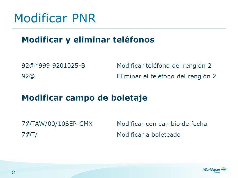 25 Modificar PNR Modificar y eliminar teléfonos 92@*999 9201025-BModificar teléfono del renglón 2 92@Eliminar el teléfono del renglón 2 Modificar camp