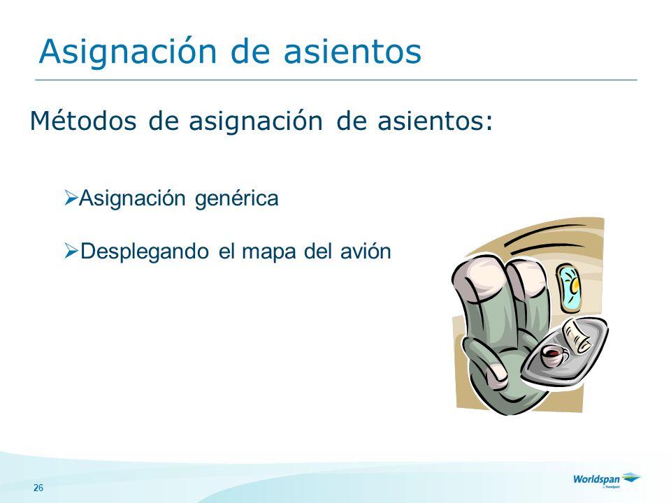 26 Asignación de asientos Métodos de asignación de asientos: Asignación genérica Desplegando el mapa del avión